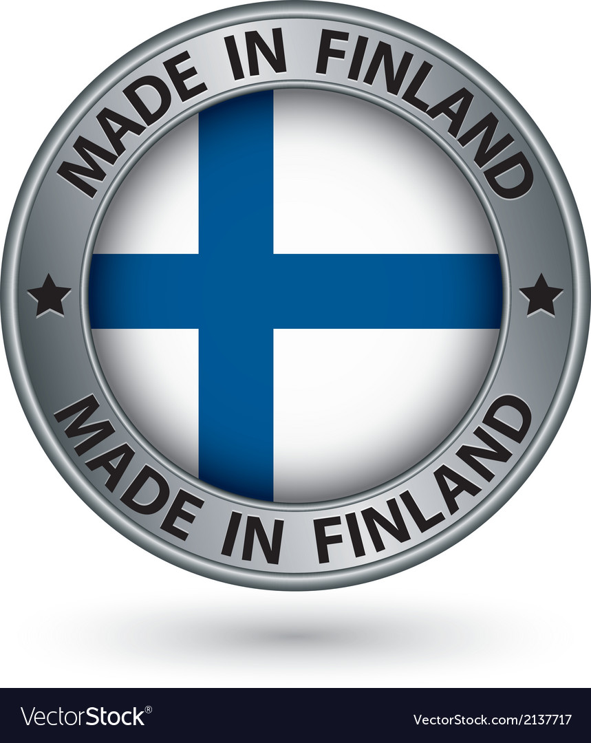 Made in finland silver label with flag vector | Price: 1 Credit (USD $1)