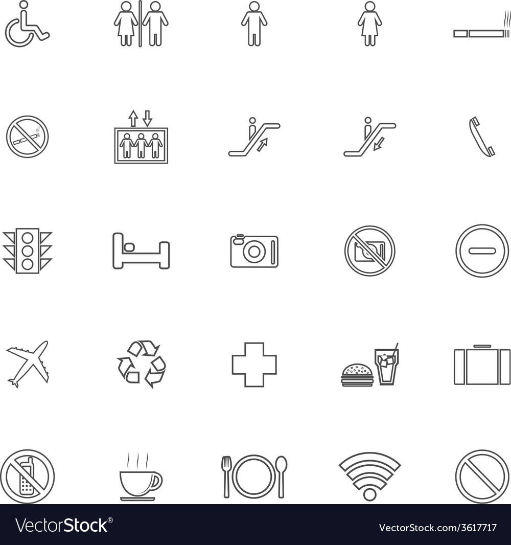Public line icons on white background vector | Price: 1 Credit (USD $1)