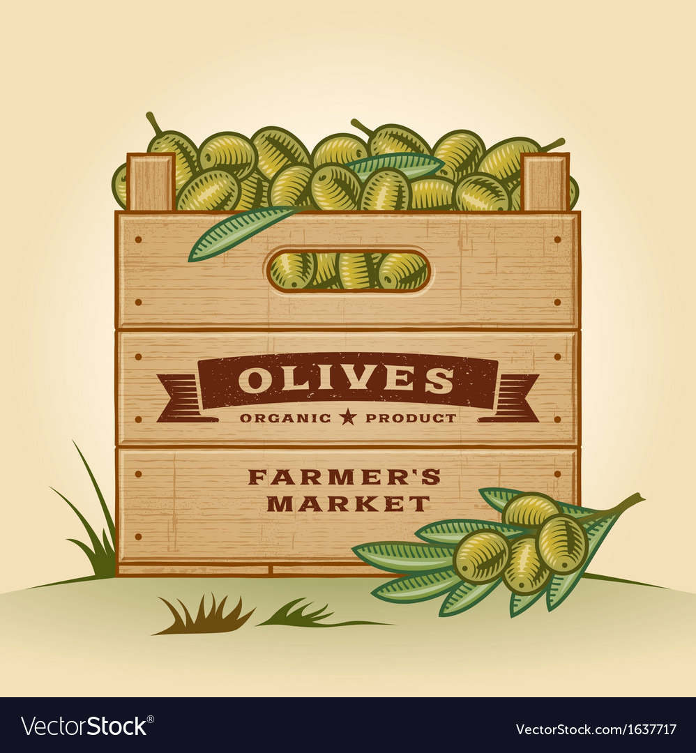 Retro crate of olives vector | Price: 1 Credit (USD $1)