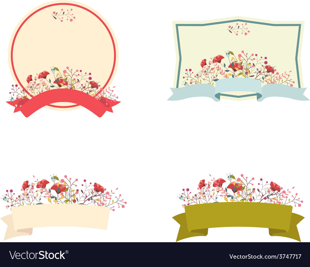 Retro floral frame and ribbon set vector   Price: 1 Credit (USD $1)