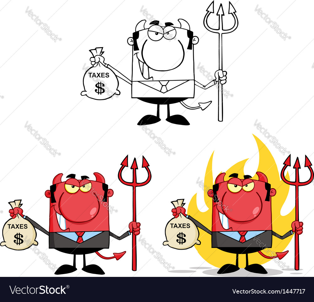 Smiling devil holding taxes bag collection vector | Price: 3 Credit (USD $3)