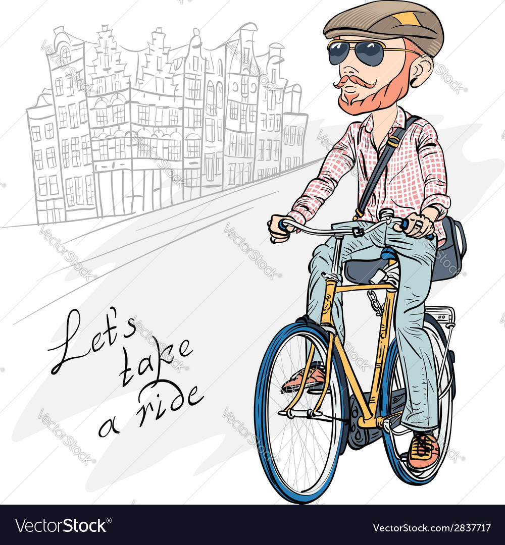 Trendy hipster bearded guy on a bike vector | Price: 1 Credit (USD $1)