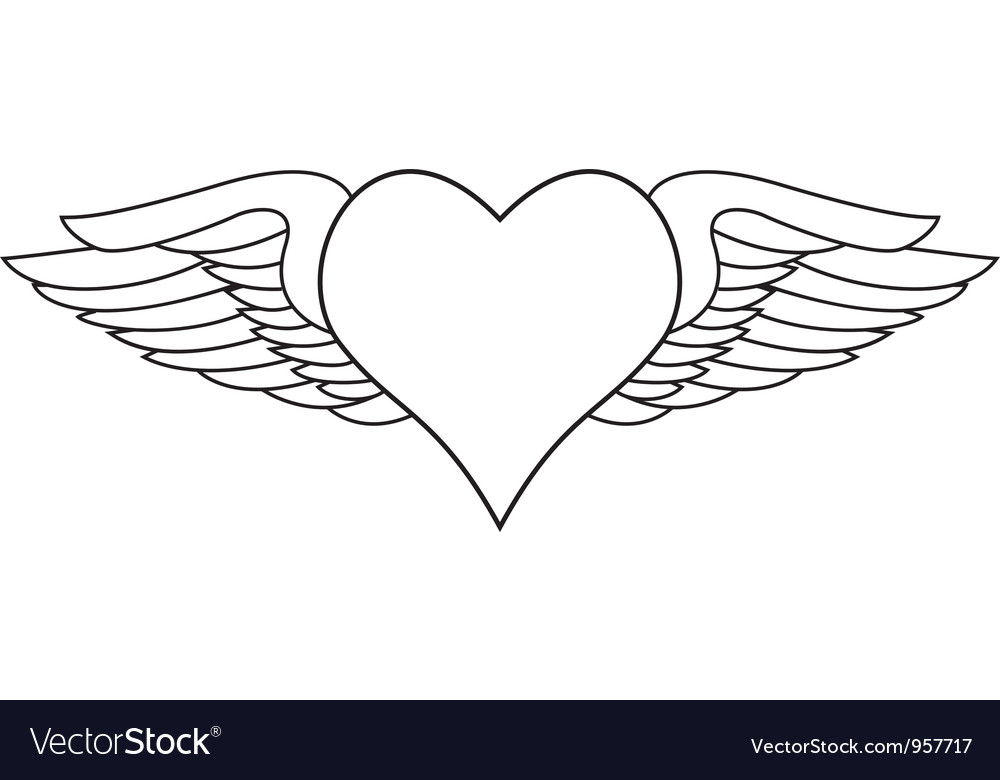 Winged heart vector | Price: 1 Credit (USD $1)