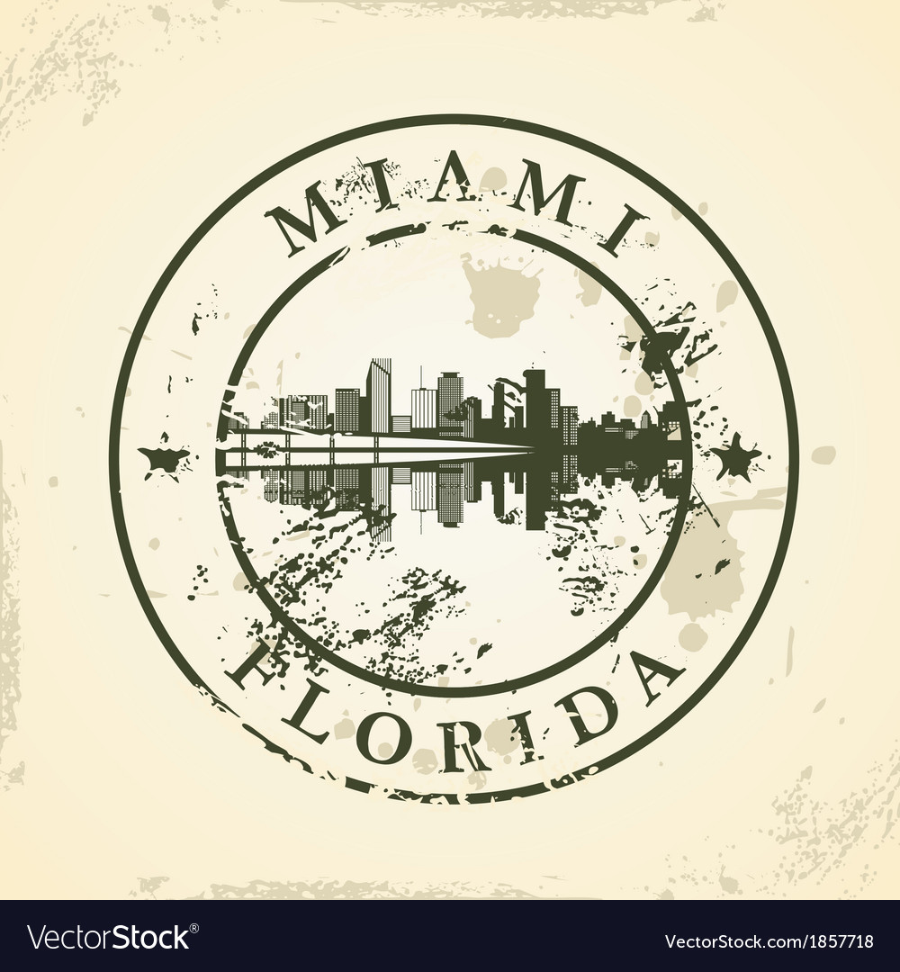 Grunge rubber stamp with miami florida vector | Price: 1 Credit (USD $1)