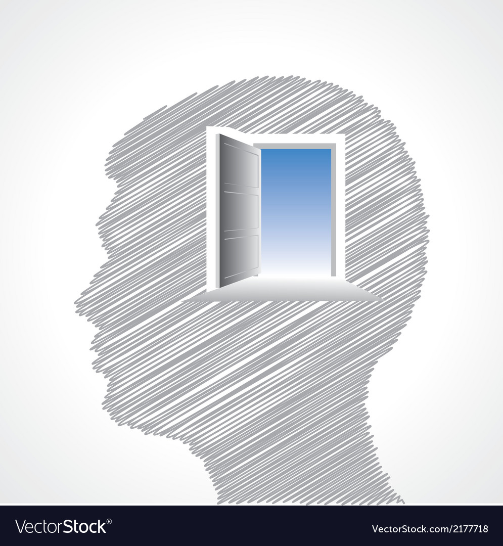 Hand drawn man s face with door in his head vector | Price: 1 Credit (USD $1)