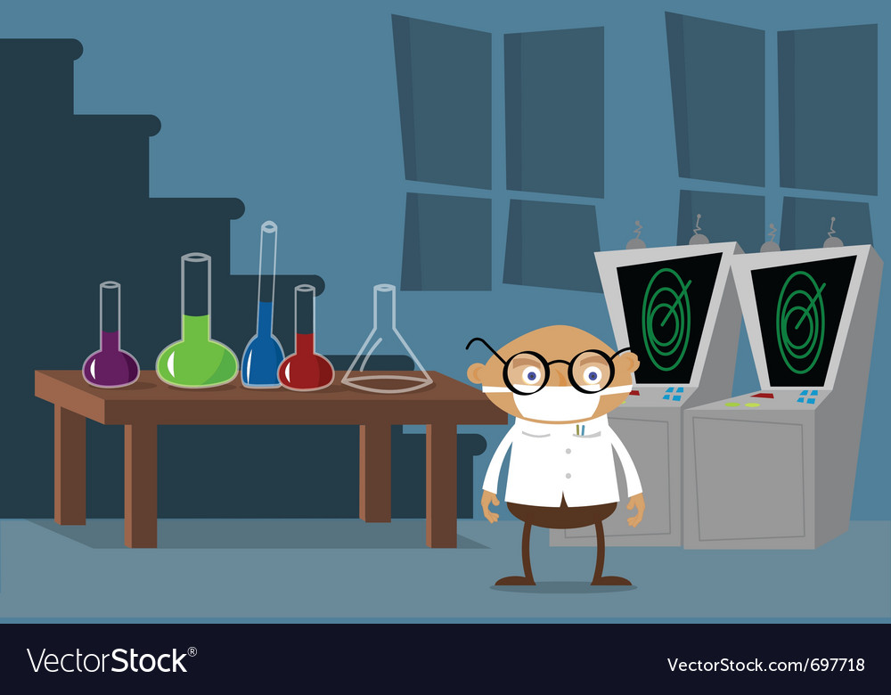 Mad scientist in lab vector | Price: 1 Credit (USD $1)