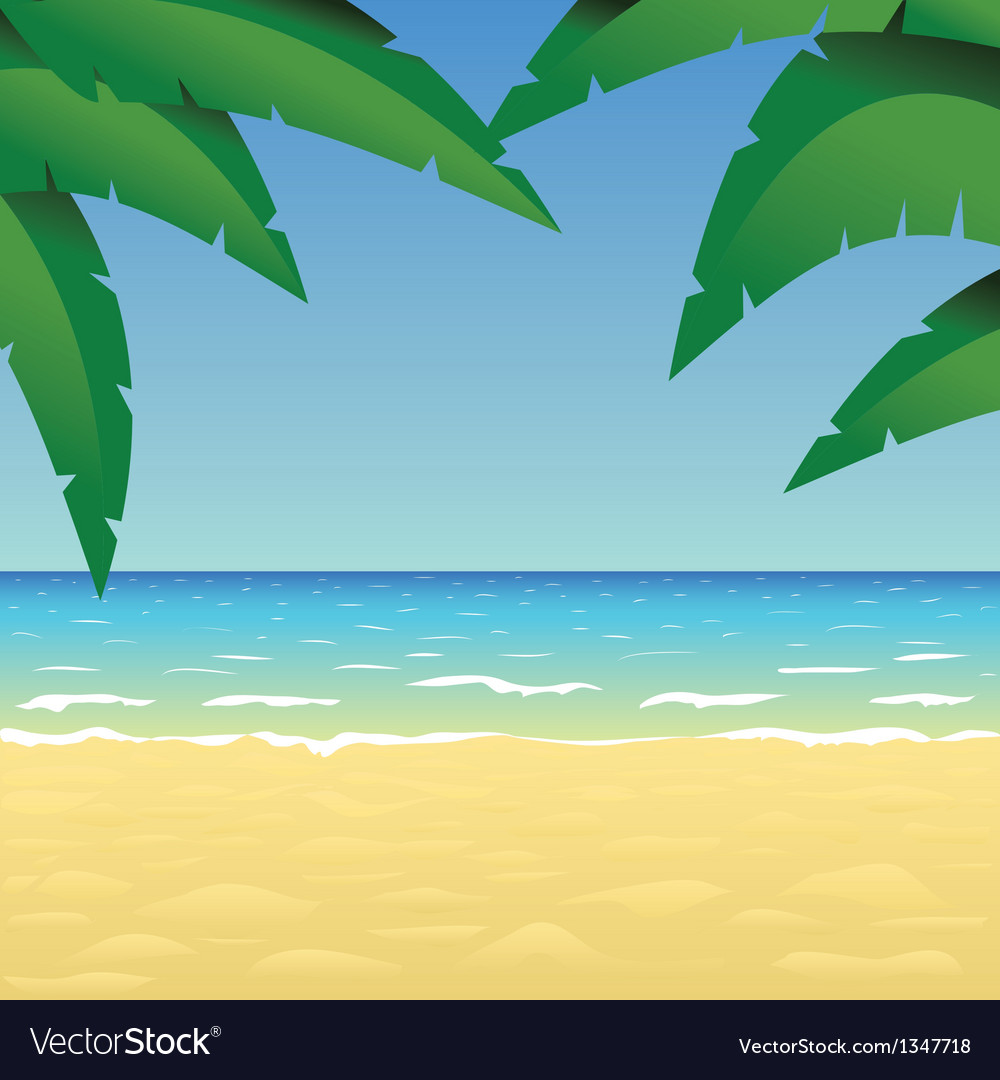 Ocean sand beach and palm vector | Price: 1 Credit (USD $1)