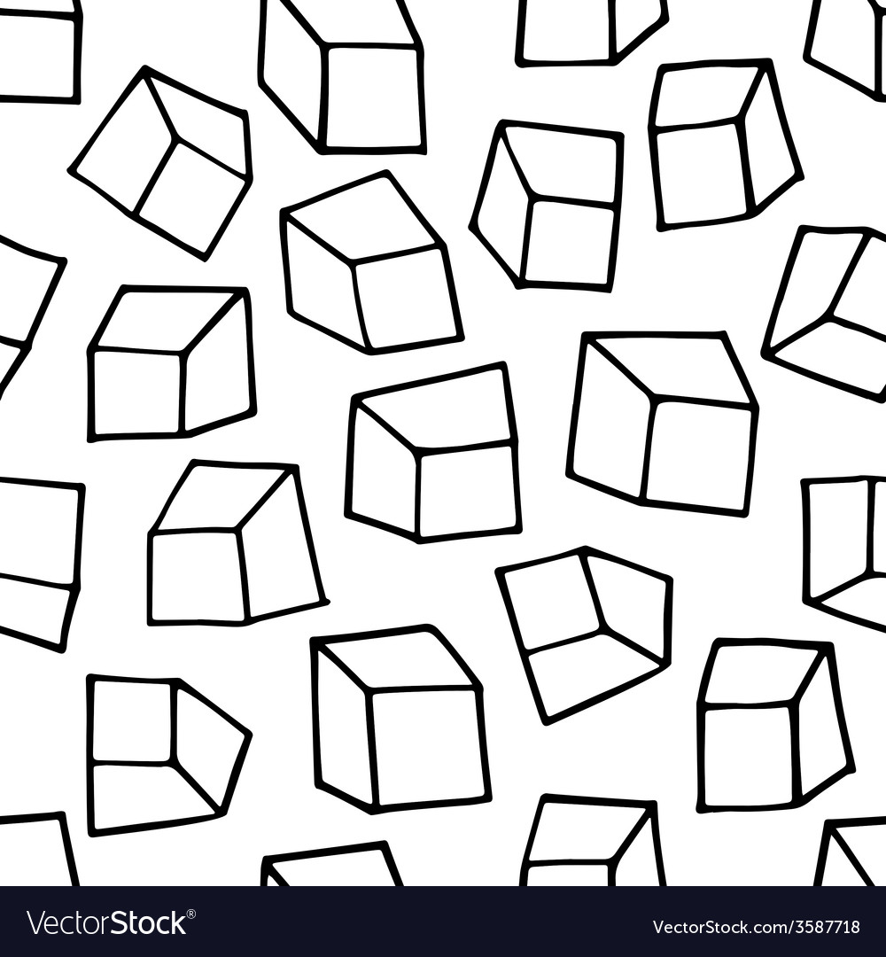 Seamless pattern with outline squares vector | Price: 1 Credit (USD $1)