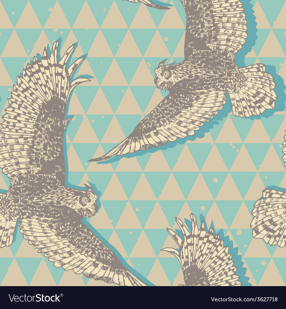 Seamless pattern with realistic flying owls in vector | Price: 1 Credit (USD $1)