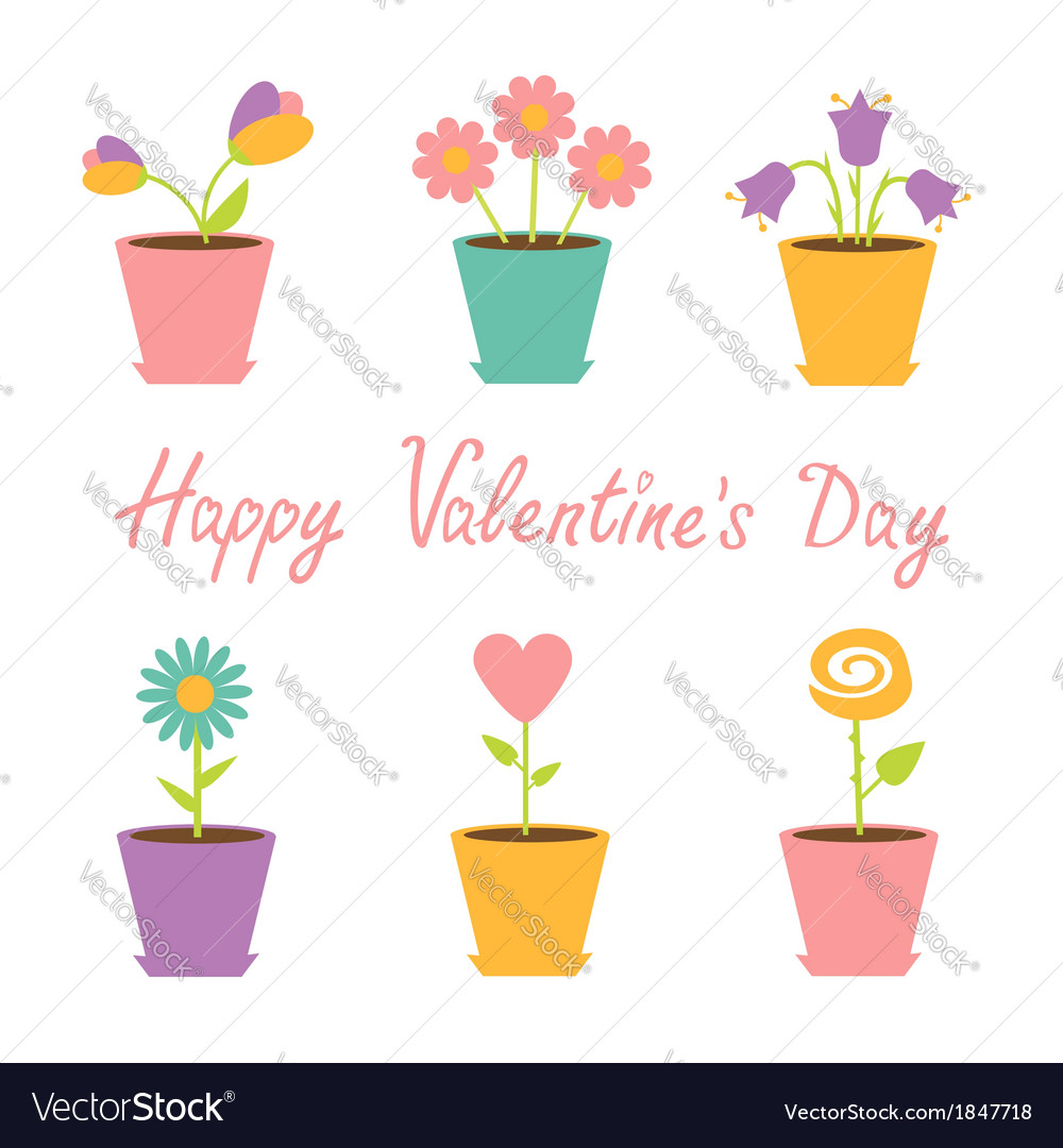 Set of flowers in pots happy valentines day vector | Price: 1 Credit (USD $1)