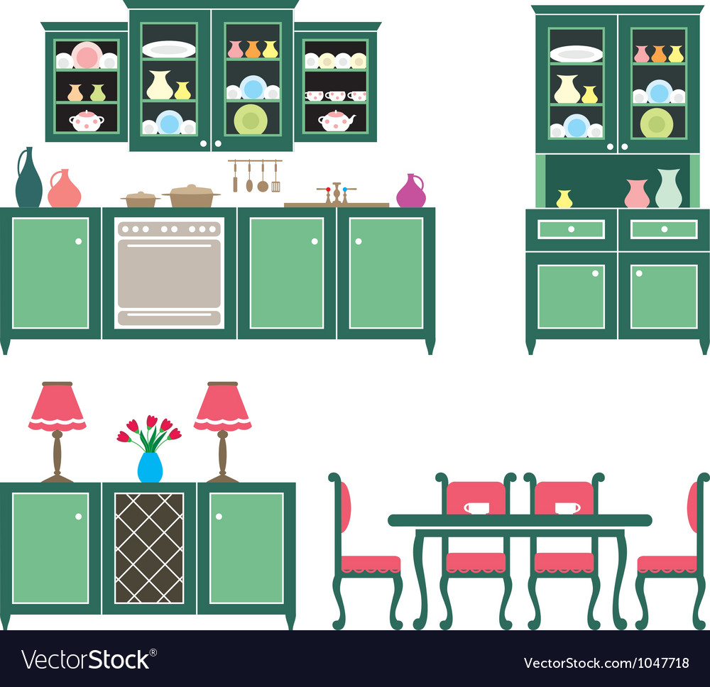 Set of kitchen furniture vector | Price: 3 Credit (USD $3)
