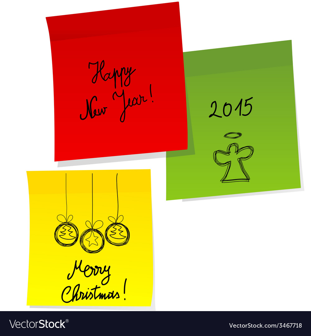 Sheets of paper with doodle christmas and happy vector | Price: 1 Credit (USD $1)