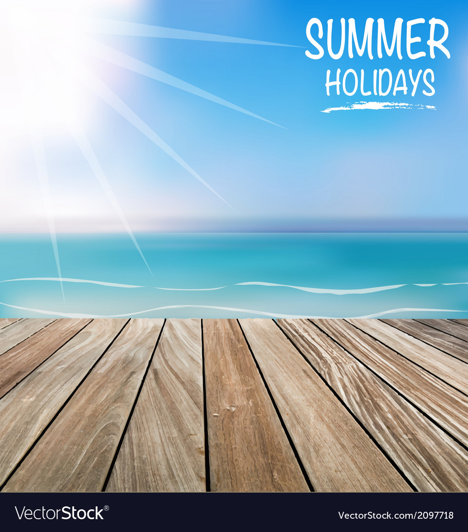 Summer holiday background with wood terrace vector | Price: 1 Credit (USD $1)