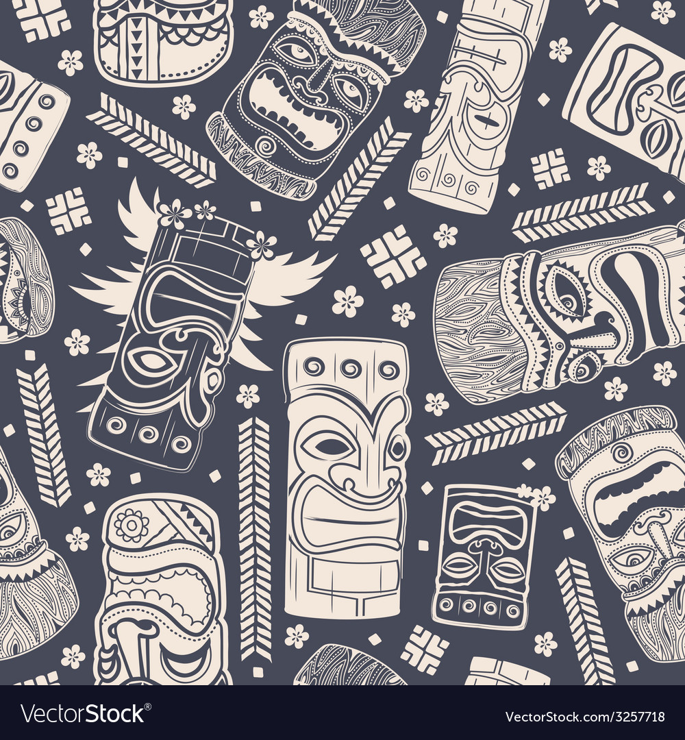 Vintage aloha tiki seamless pattern vector | Price: 1 Credit (USD $1)
