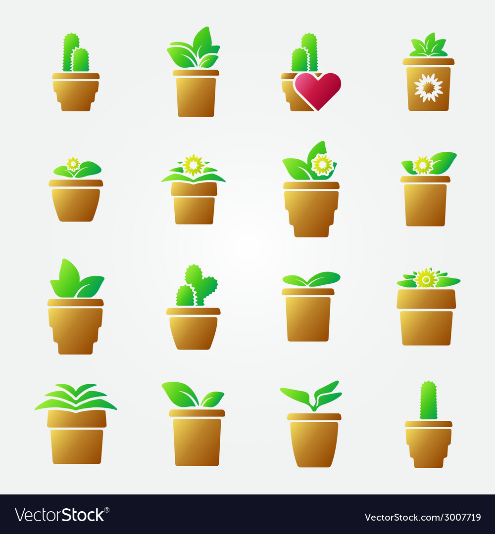 Bright home flowers icons set vector | Price: 1 Credit (USD $1)