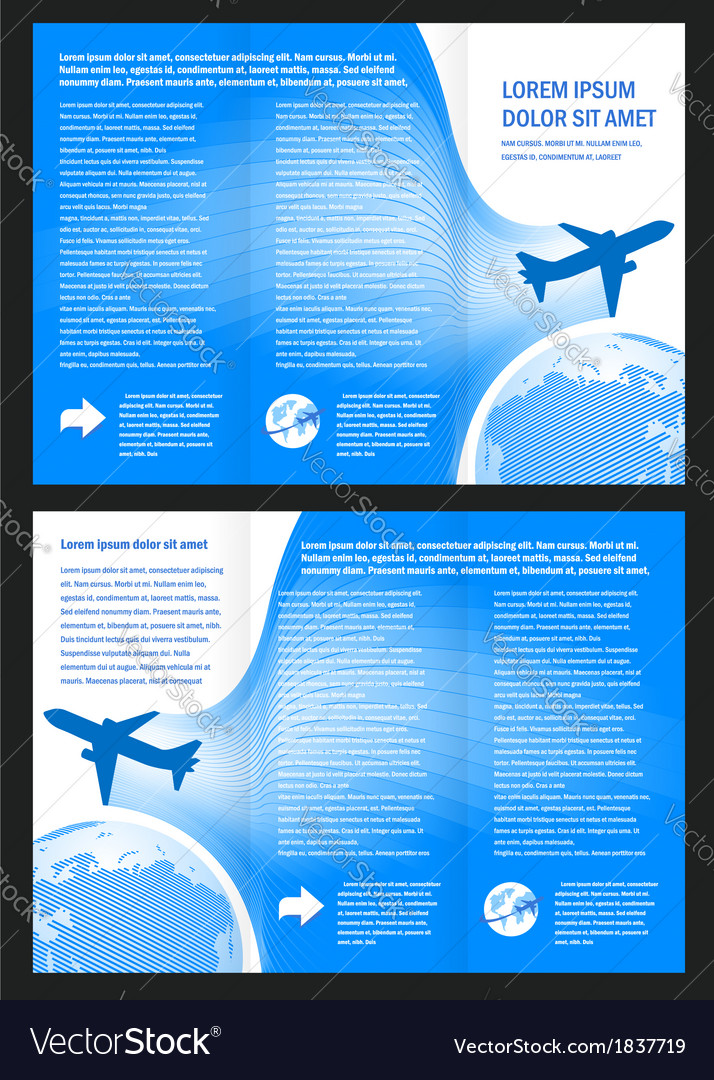 Brochure design airplane flight tickets air fly vector | Price: 1 Credit (USD $1)