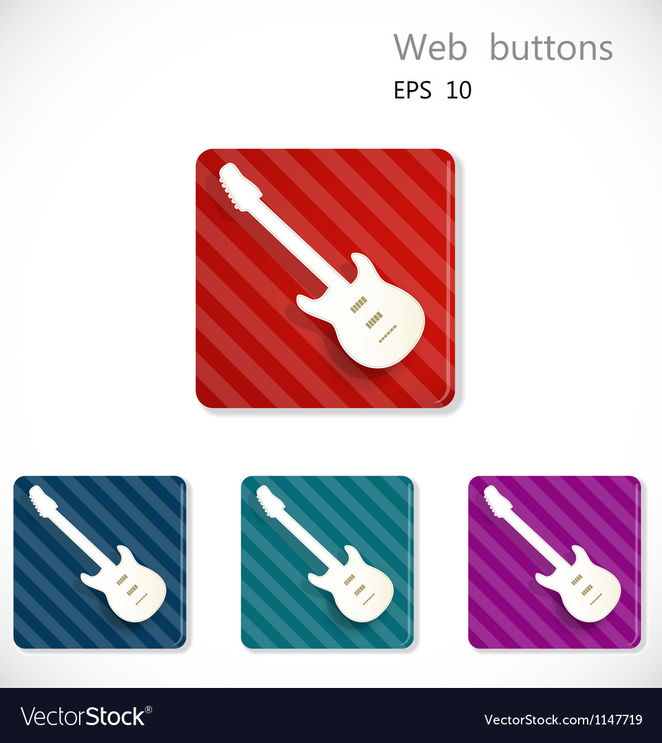 Buttons with icon of guitar vector | Price: 1 Credit (USD $1)