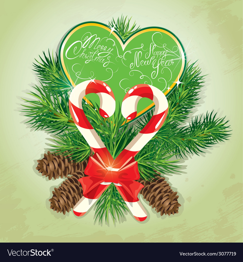 Card with candys in heart shape and fir-tree branc vector | Price: 1 Credit (USD $1)