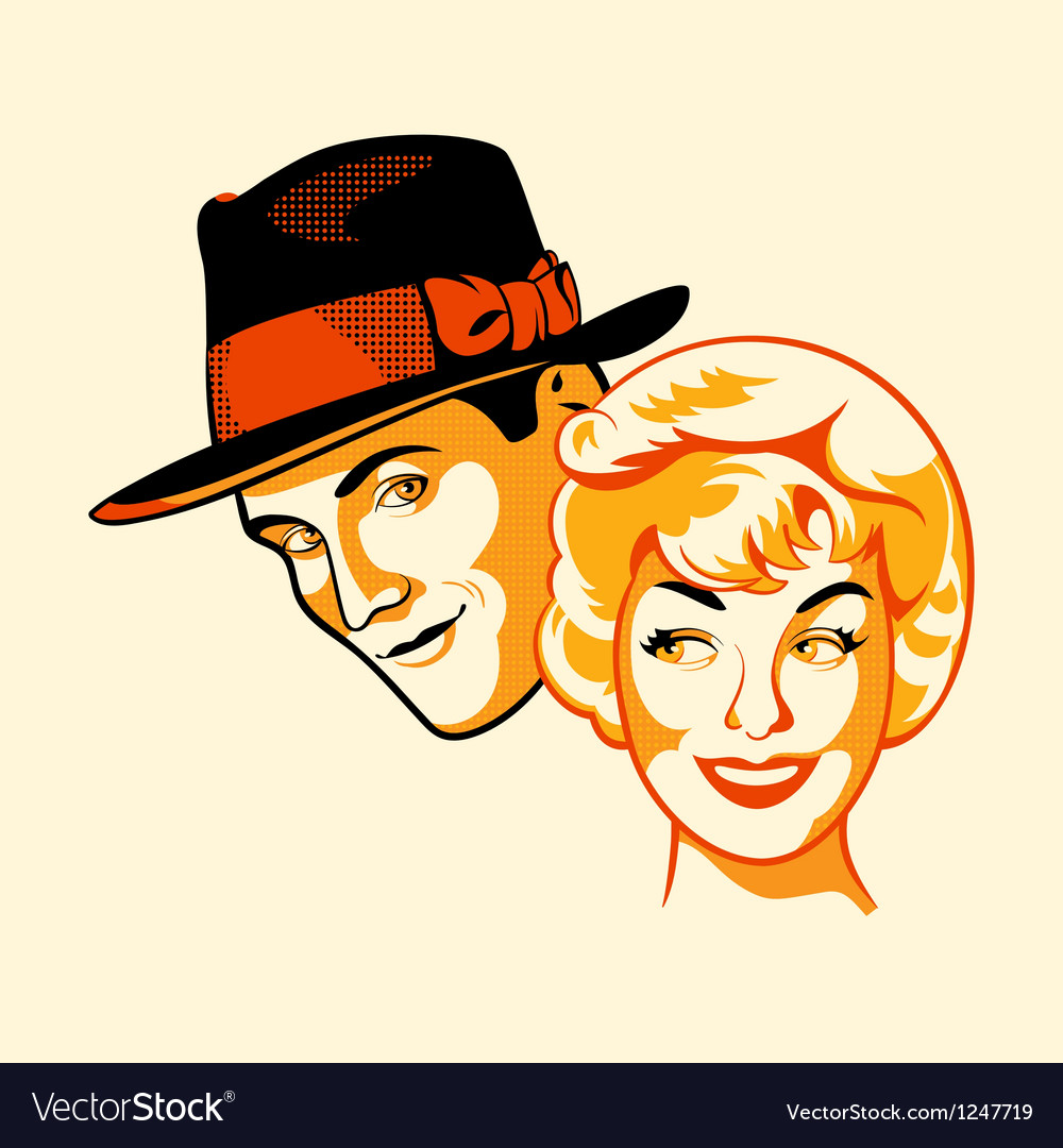 Flirting couple vector | Price: 3 Credit (USD $3)