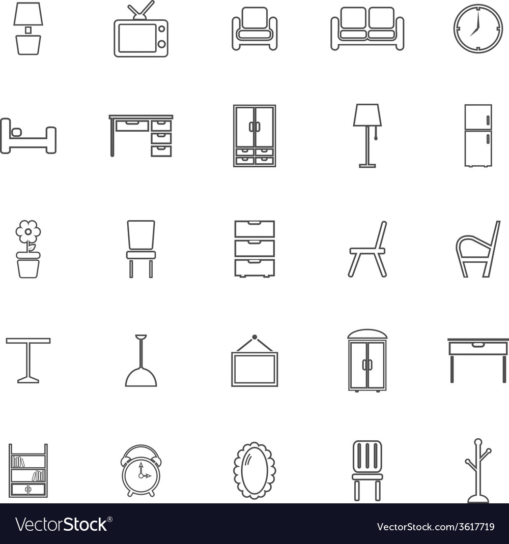 Furniture line icons on white background vector | Price: 1 Credit (USD $1)