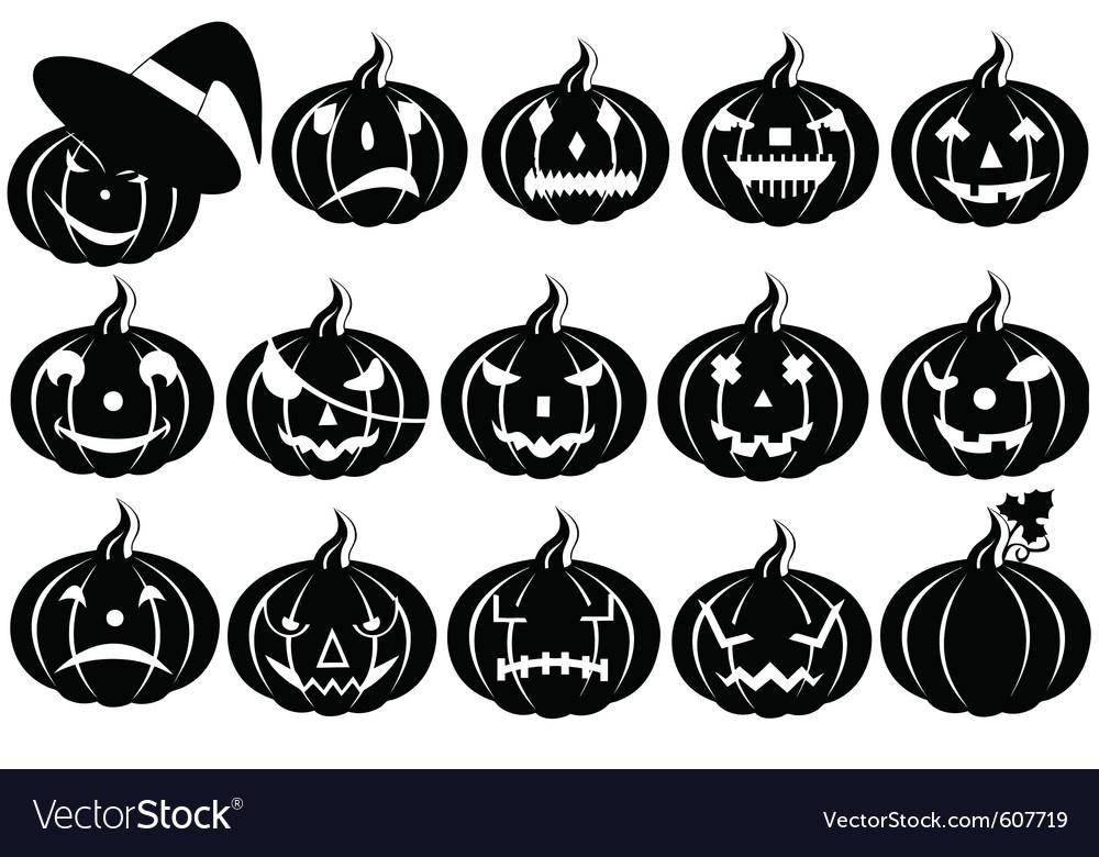 Halloween pumpkins silhouette vector | Price: 1 Credit (USD $1)