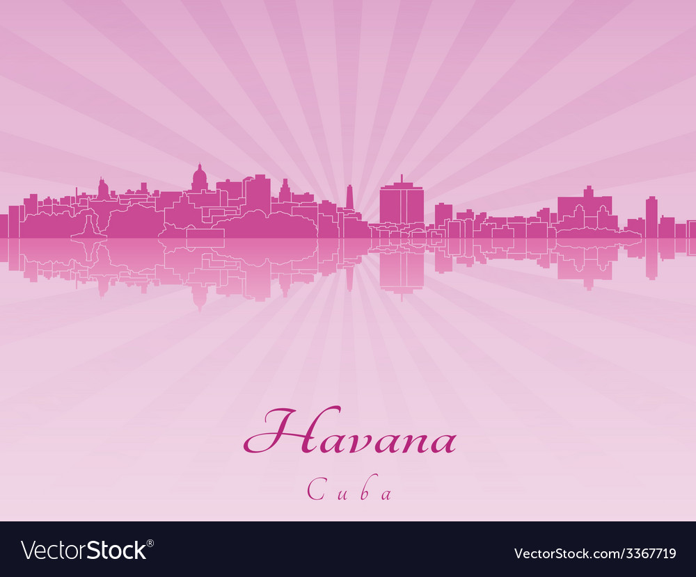 Havana skyline in purple radiant orchid vector | Price: 1 Credit (USD $1)