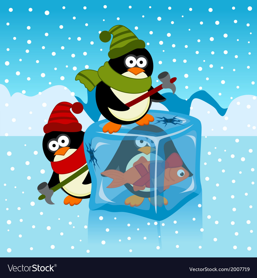 Ice cube with penguin vector | Price: 1 Credit (USD $1)