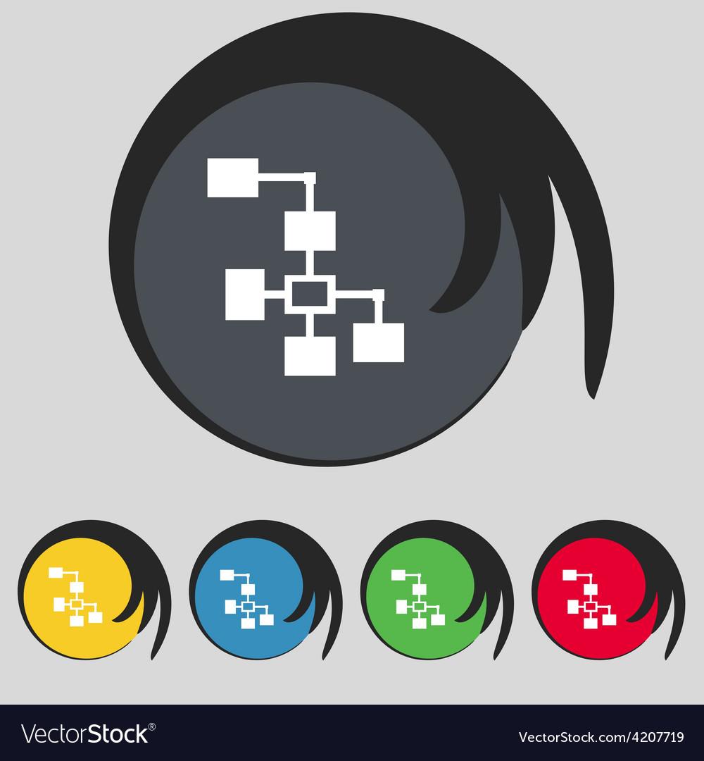 Local network icon sign symbol on five colored vector | Price: 1 Credit (USD $1)