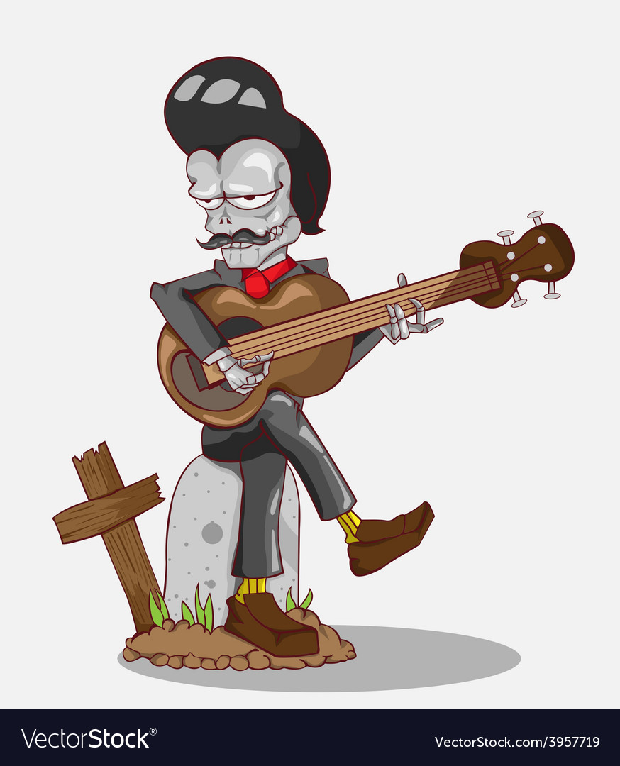 Monster in halloween night skeleton play guitar vector | Price: 3 Credit (USD $3)