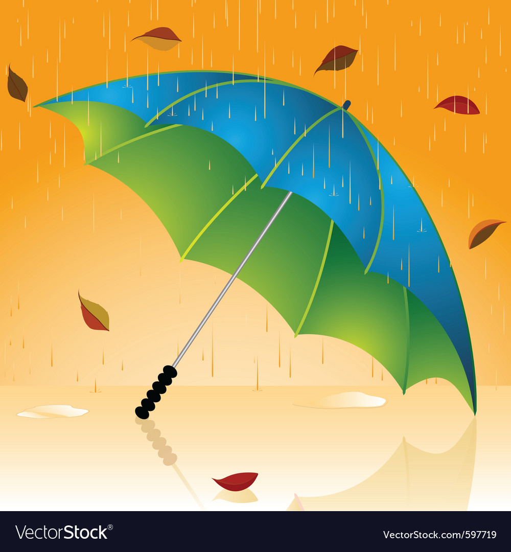 Rain and autumn leaves vector | Price: 1 Credit (USD $1)