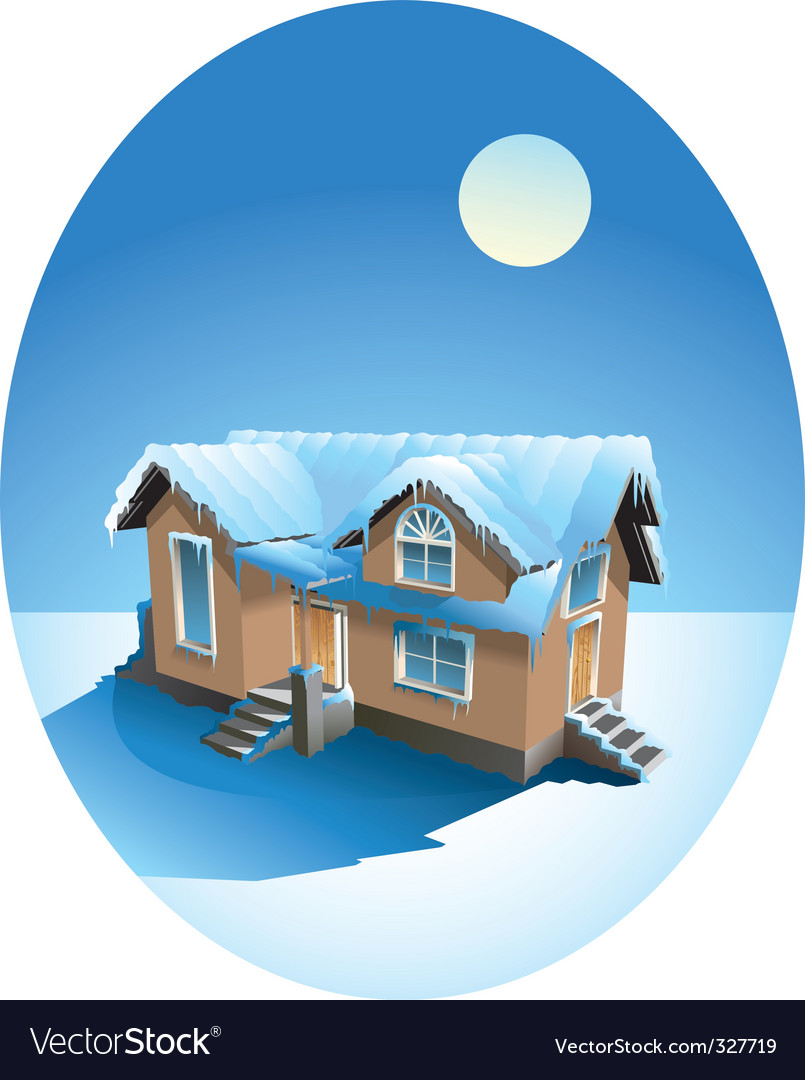 Snow covered house in winter vector | Price: 3 Credit (USD $3)