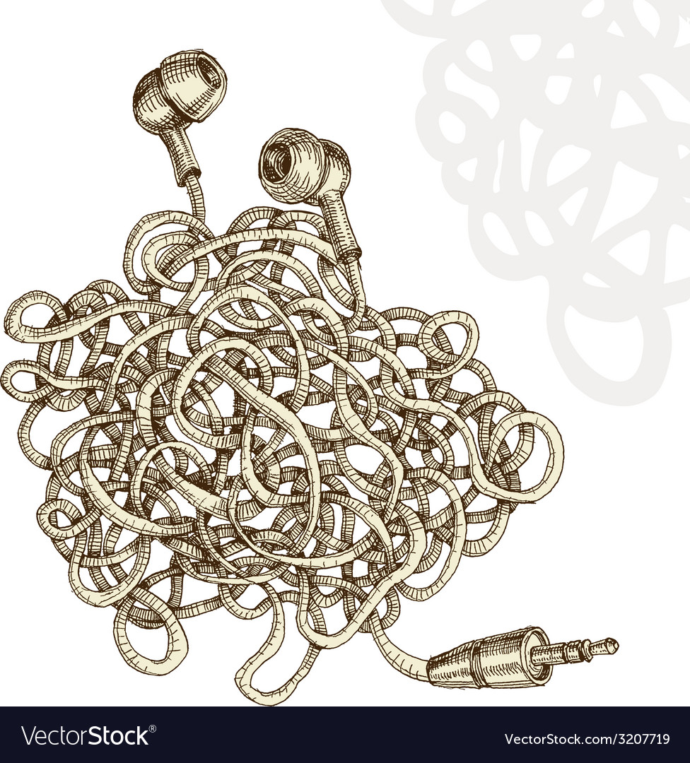Tangled earphones vector | Price: 1 Credit (USD $1)