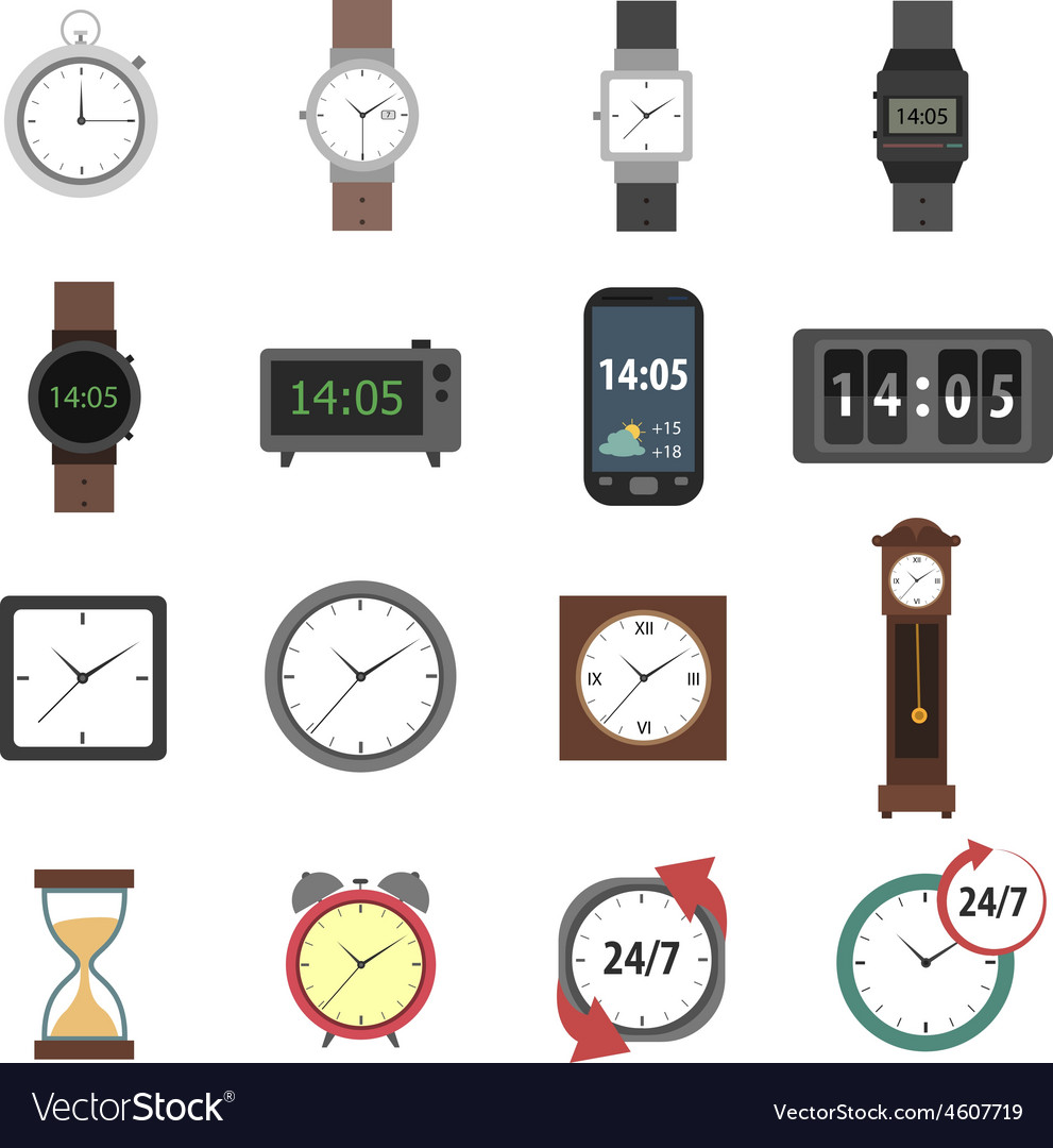 Time icons flat vector   Price: 1 Credit (USD $1)