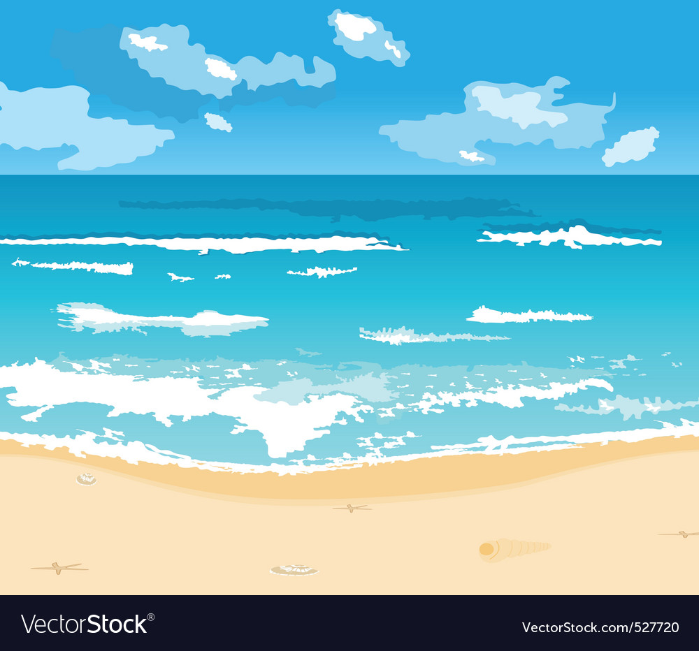 Beautiful summer background with beach vector | Price: 1 Credit (USD $1)