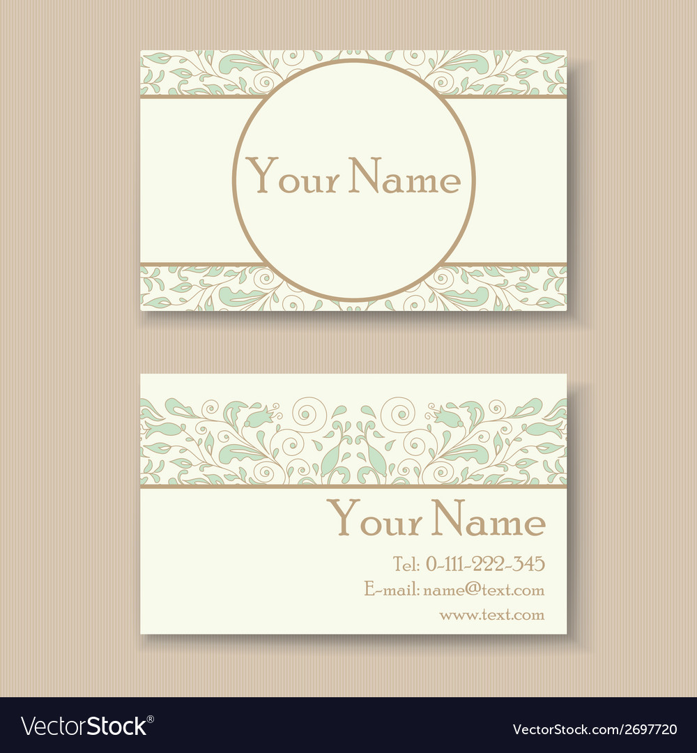 Business card with floral ornament vector | Price: 1 Credit (USD $1)
