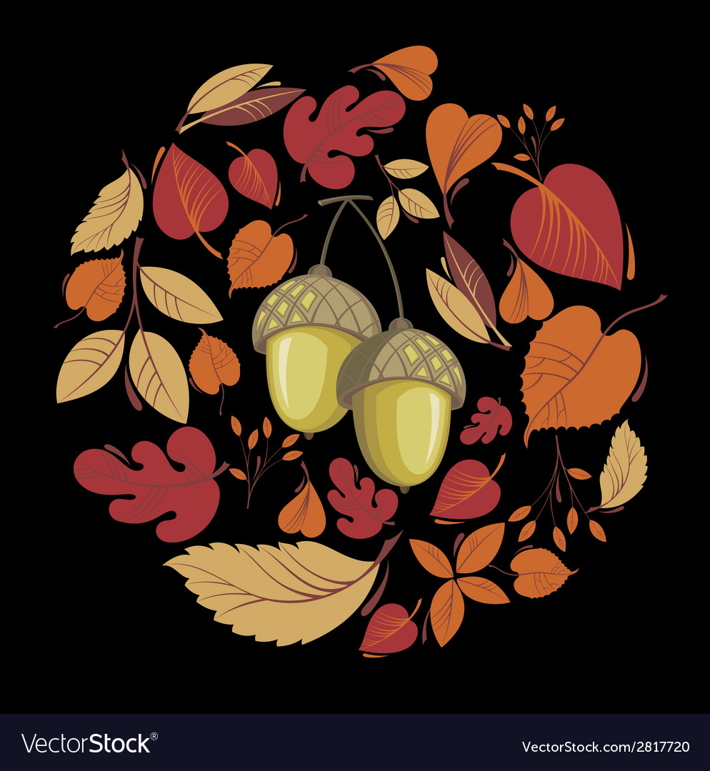 Card with autumn leaves and acorn vector   Price: 1 Credit (USD $1)