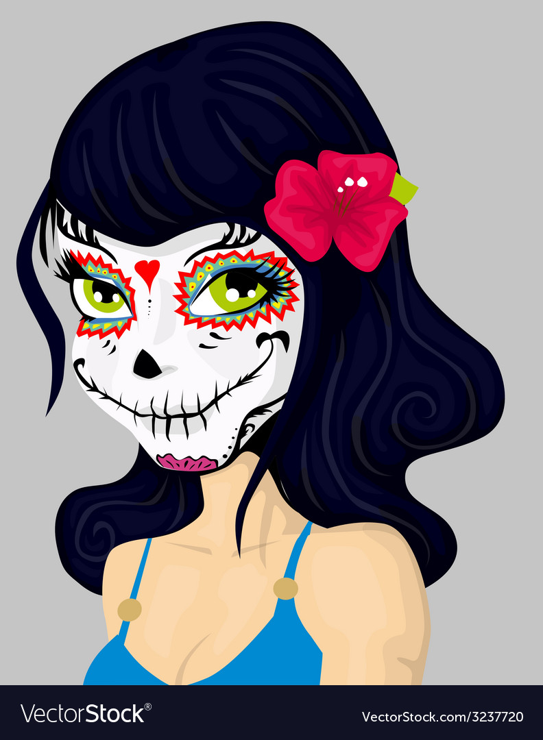 Cartoon girl in dead mask makeup vector | Price: 1 Credit (USD $1)