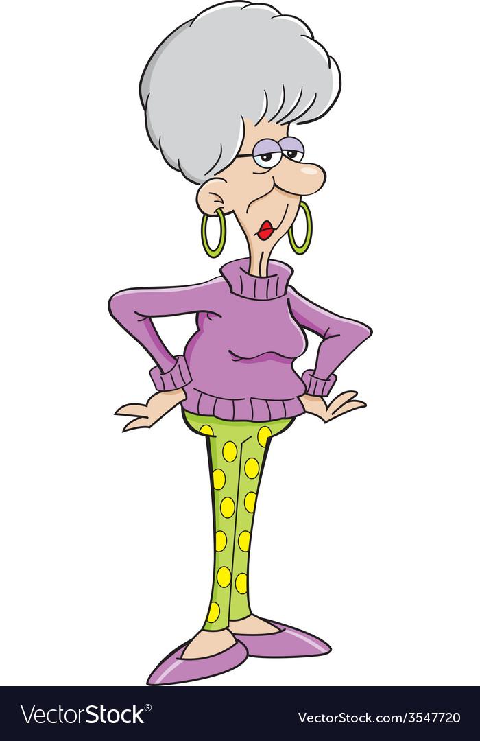 Cartoon senior citizen lady vector | Price: 1 Credit (USD $1)