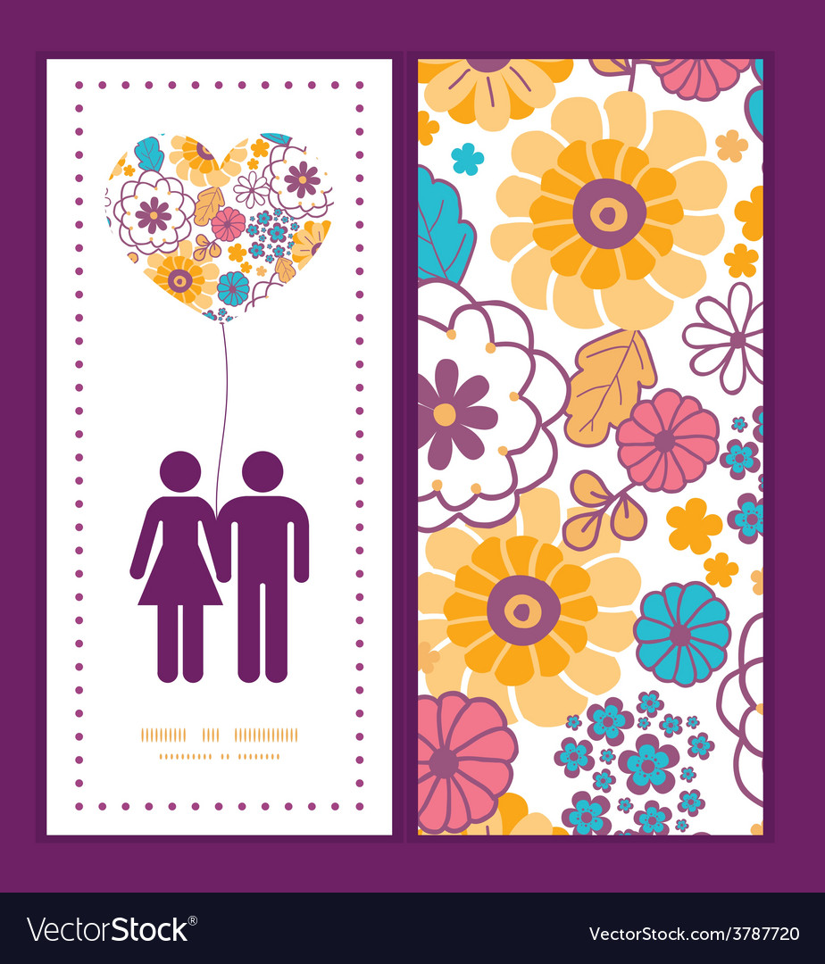 Colorful oriental flowers couple in love vector | Price: 1 Credit (USD $1)