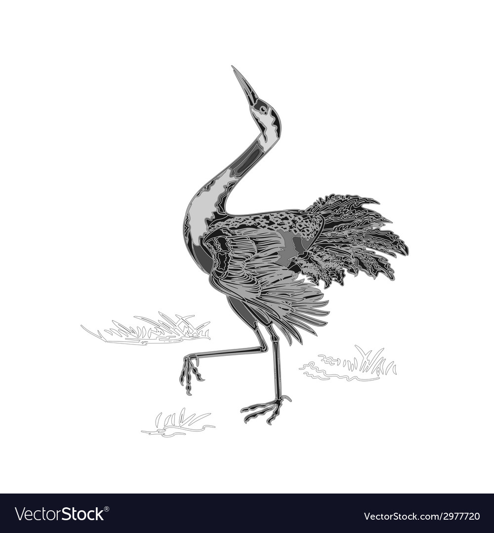 Dancing crane wildlife animal neck engraving vector | Price: 1 Credit (USD $1)