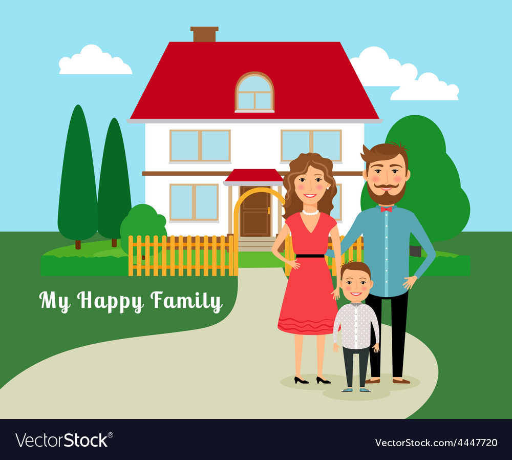 Happy family near house vector | Price: 1 Credit (USD $1)