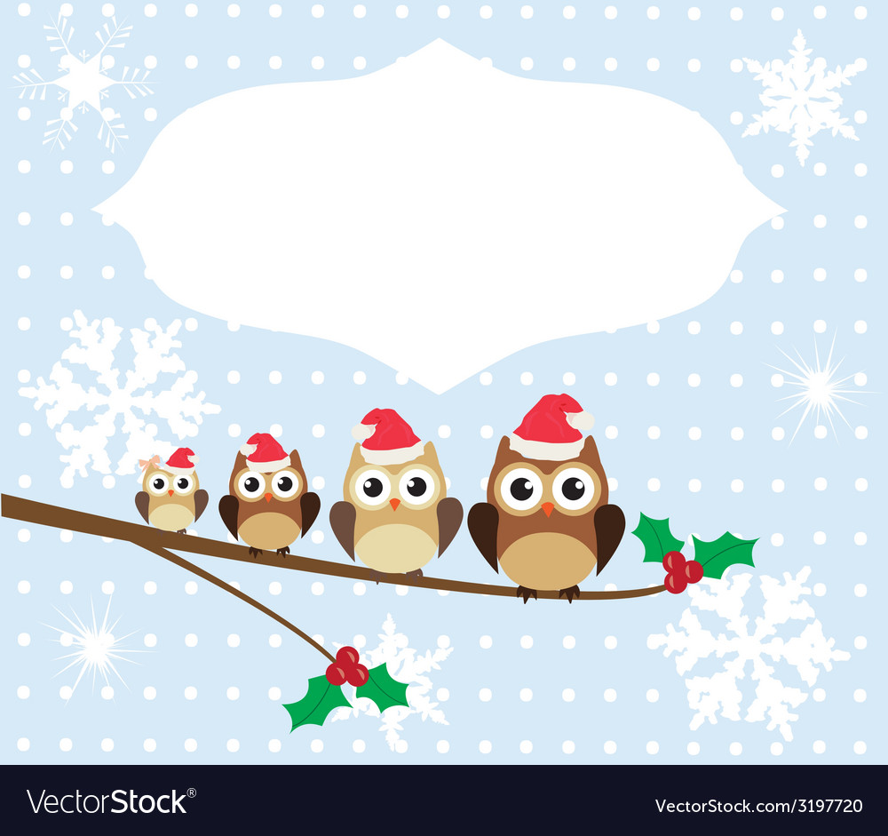 Owl family card winter vector | Price: 1 Credit (USD $1)