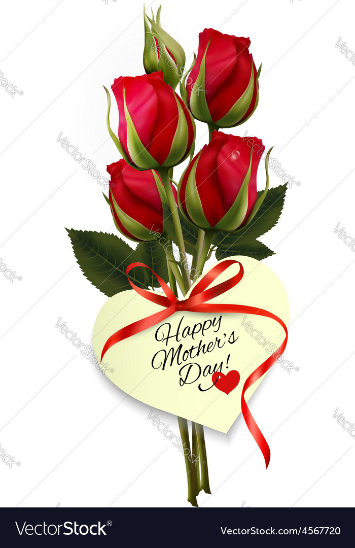 Red roses with a heart-shaped happy mothers day vector | Price: 3 Credit (USD $3)