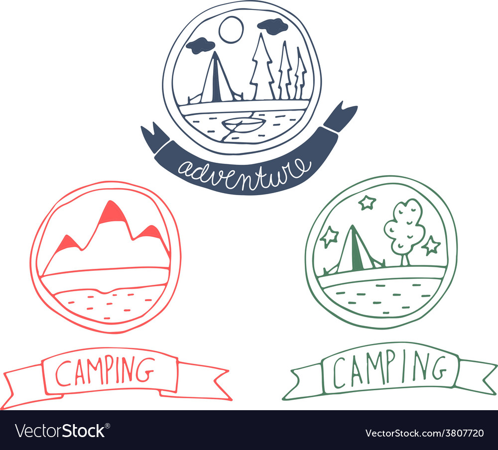 Set of doodle adventure badges vector | Price: 1 Credit (USD $1)
