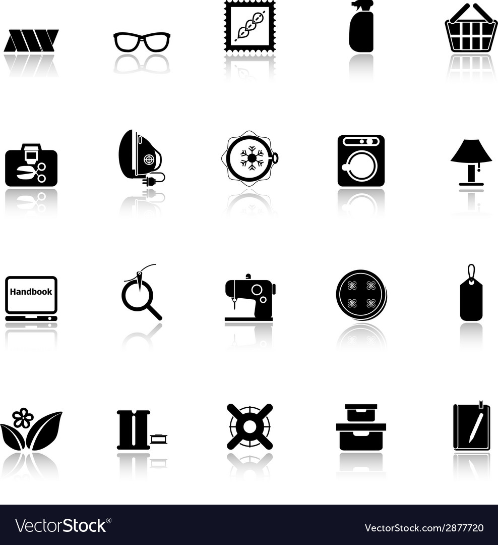 Sewing cloth related icons with reflect on white vector | Price: 1 Credit (USD $1)