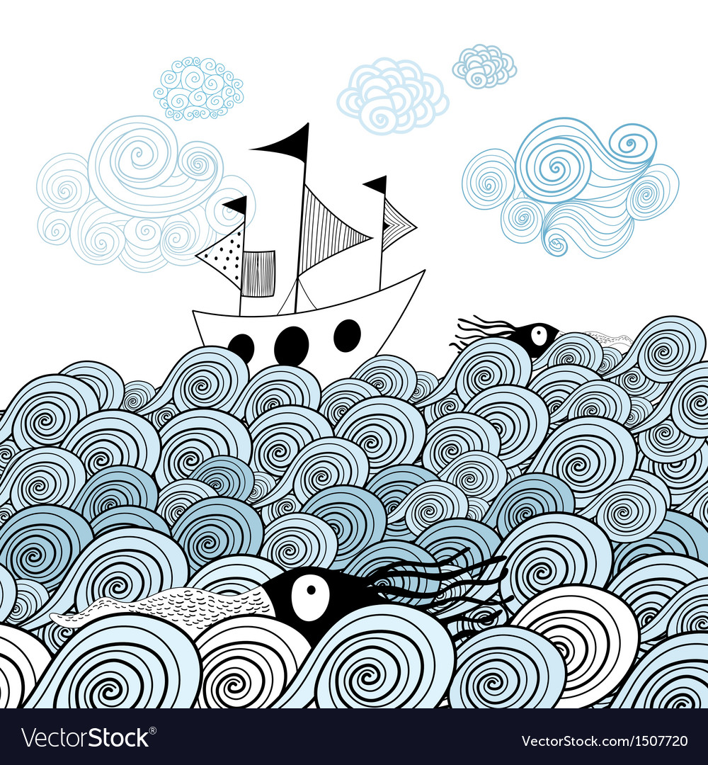 Ship and sea waves vector | Price: 1 Credit (USD $1)
