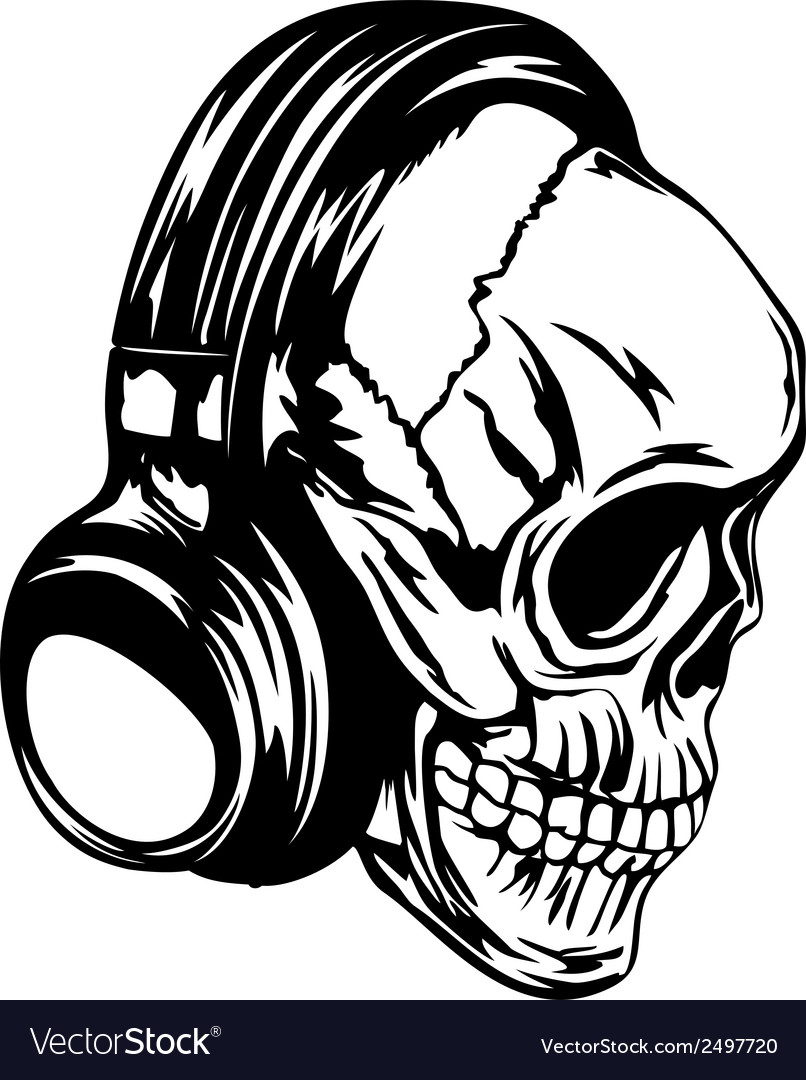 Skull in headphones vector | Price: 1 Credit (USD $1)