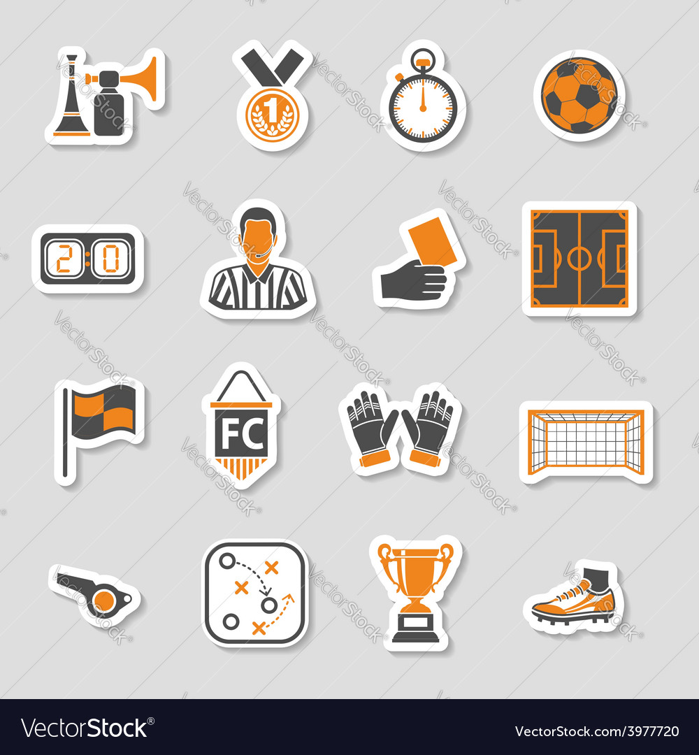 Soccer icon sticker set vector | Price: 1 Credit (USD $1)