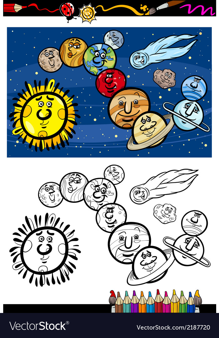 Solar system cartoon coloring book vector | Price: 1 Credit (USD $1)