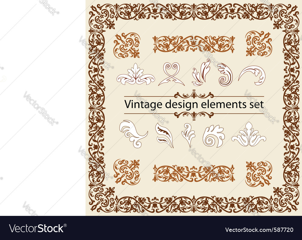 Vintage design elements set vector | Price: 1 Credit (USD $1)